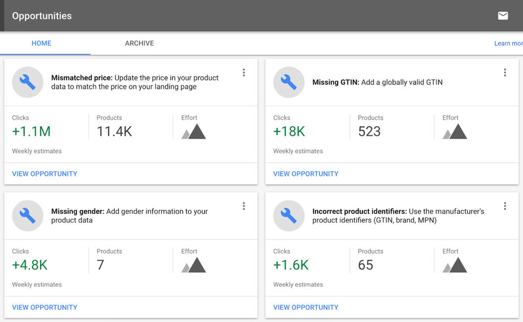 Google Merchant Center Now Finds 'Opportunities' for Improving Campaigns