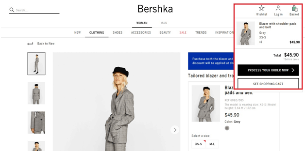 Bershka product page with red rectangle highlighting section that provides option to see shopping cart or process order now
