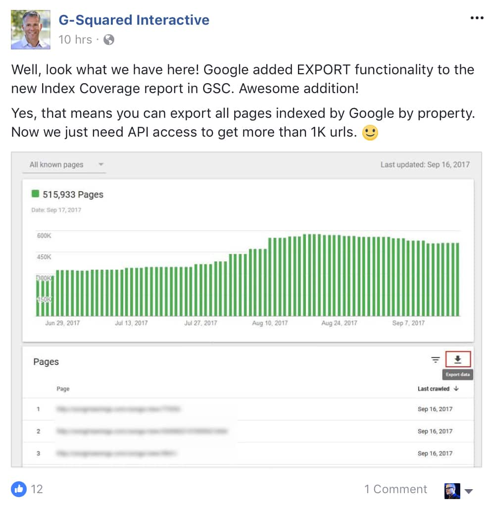 Export Google Search Console's 'Index Coverage' Report