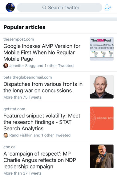 Twitter's 'Popular Articles' Shows What Your Connections are Tweeting About