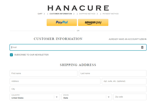 Hanacure checkout page displaying PayPal and AmazonPay checkout buttons