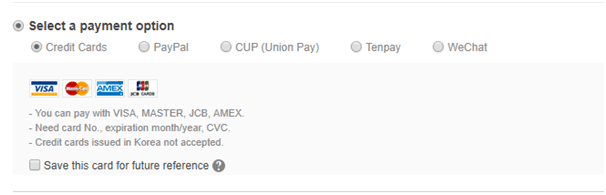 Screenshot of Innisfree checkout page with different payment options