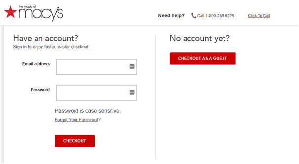 Macy's checkout page with an option to login or checkout as guest