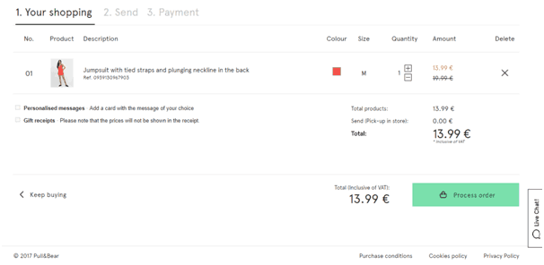 Checkout page of Pull and Bear highlighting order review stage and displaying two other stages for checkout