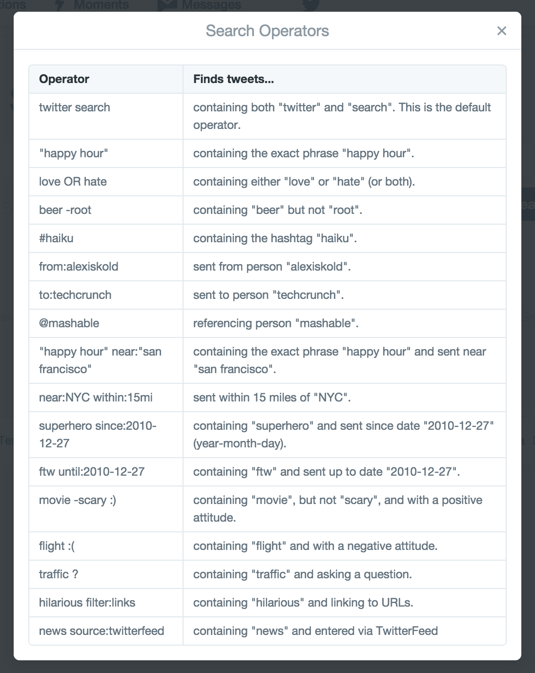 Twitter Advanced Search Operators