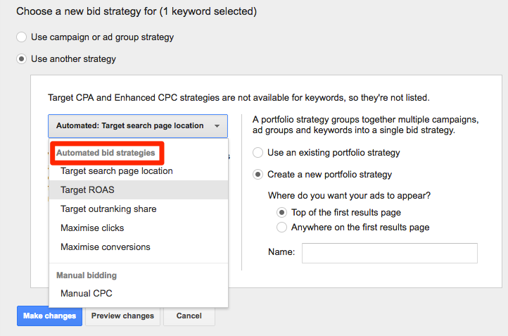Example automated bidding options in Google AdWords
