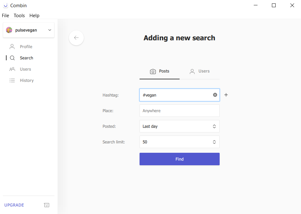 adding a new search in combin