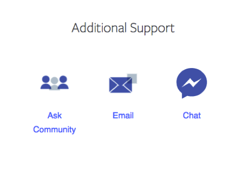 facebook support options