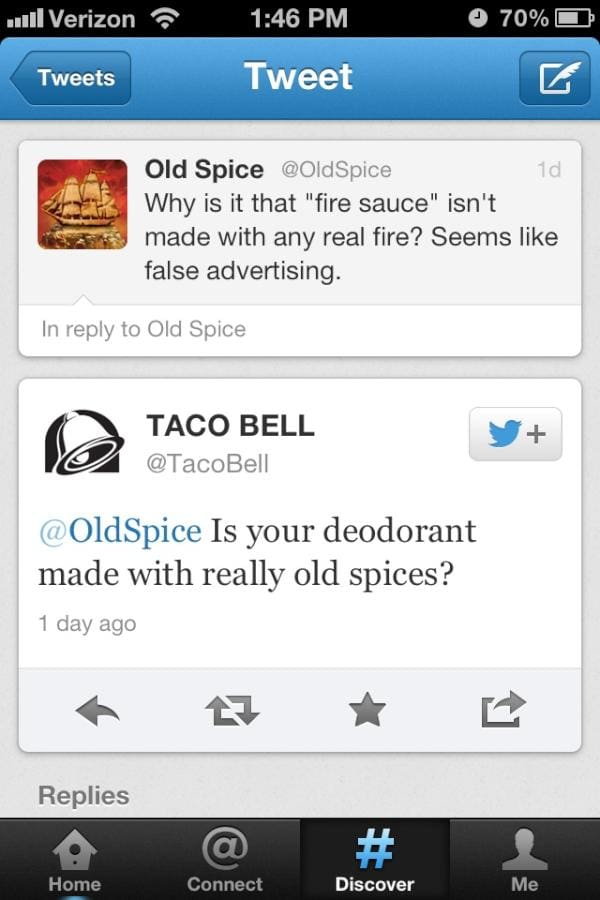 Old Spice and Taco Bell Tweets