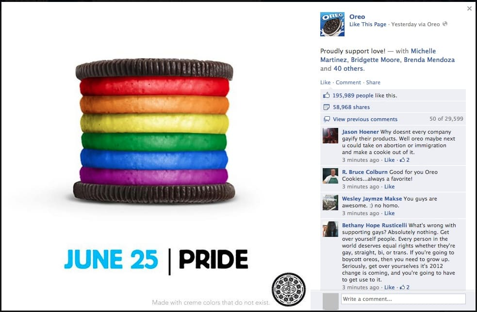Oreo proudly support love Facebook post