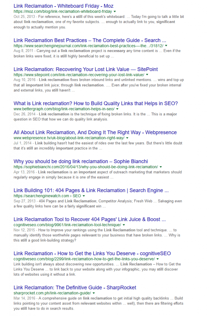 search for link reclamation