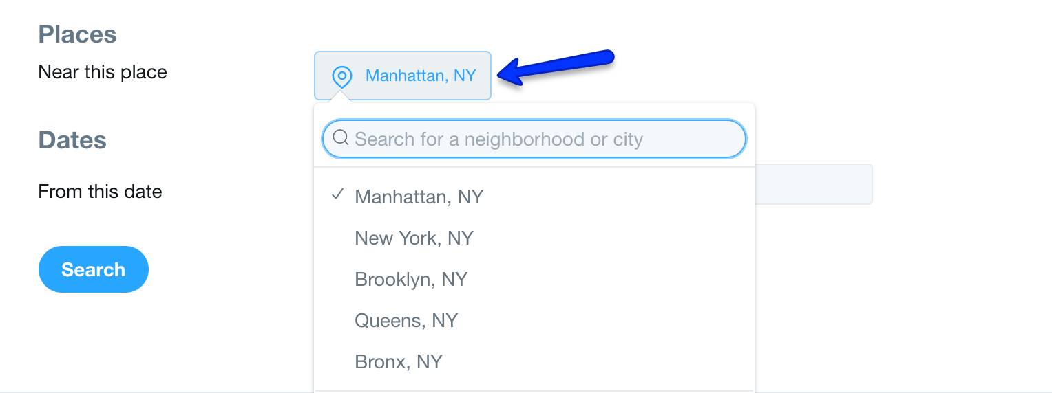 Twitter Advanced Search Places