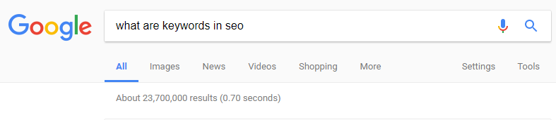 "google search query for ""what are keywords in seo"""
