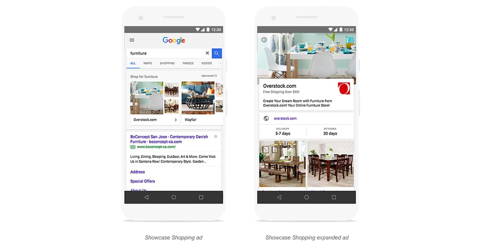 Google shopping ads for furniture store