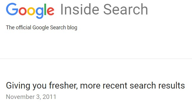 Google Freshness Update Nov 2011