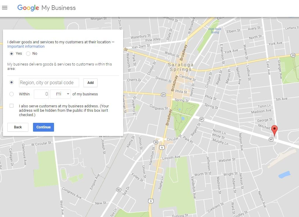 Set the service area on Google My Business to establish where your business is willing to offer goods and services