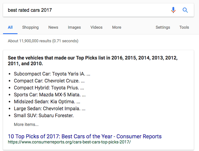 best of list featured snippet