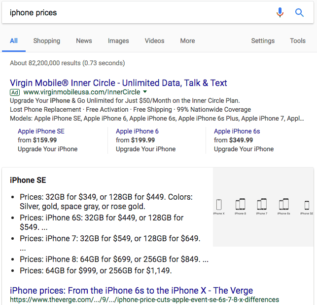 bulleted list featured snippet