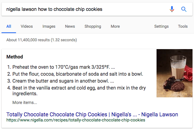 recipe featured snippet