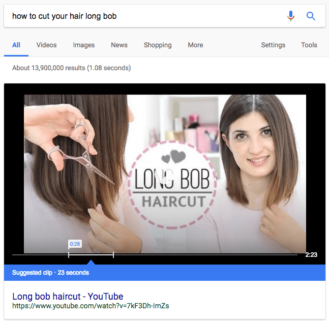 suggested clip youtube featured snippet