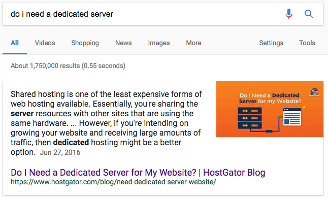 blog featured snippet