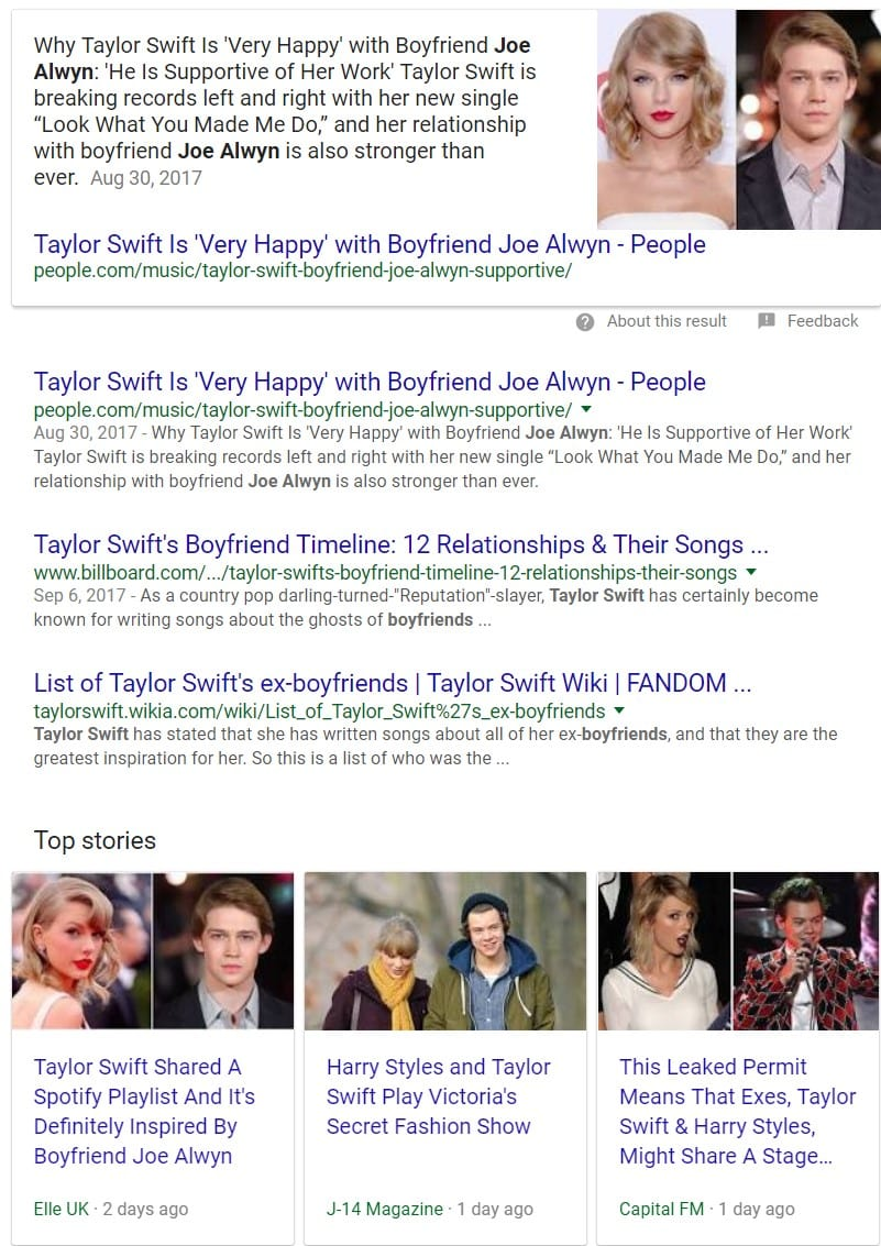 Tailor Swift SERPs Oct 2017