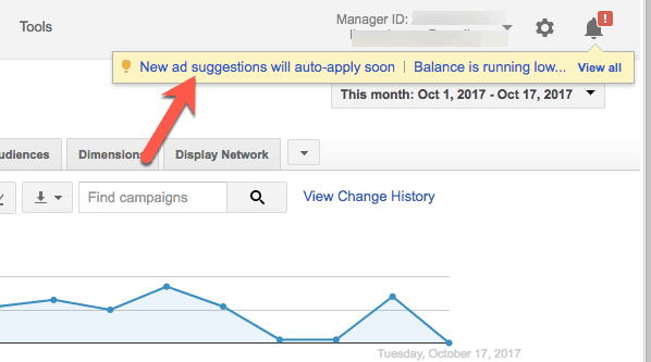 adwords ad suggestions notification