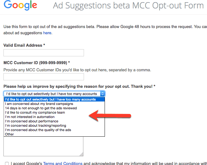 adwords opt out of ad suggestions