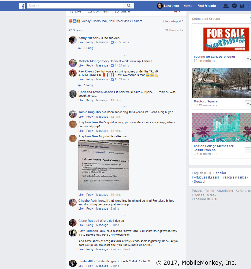 Fake news Facebook comments