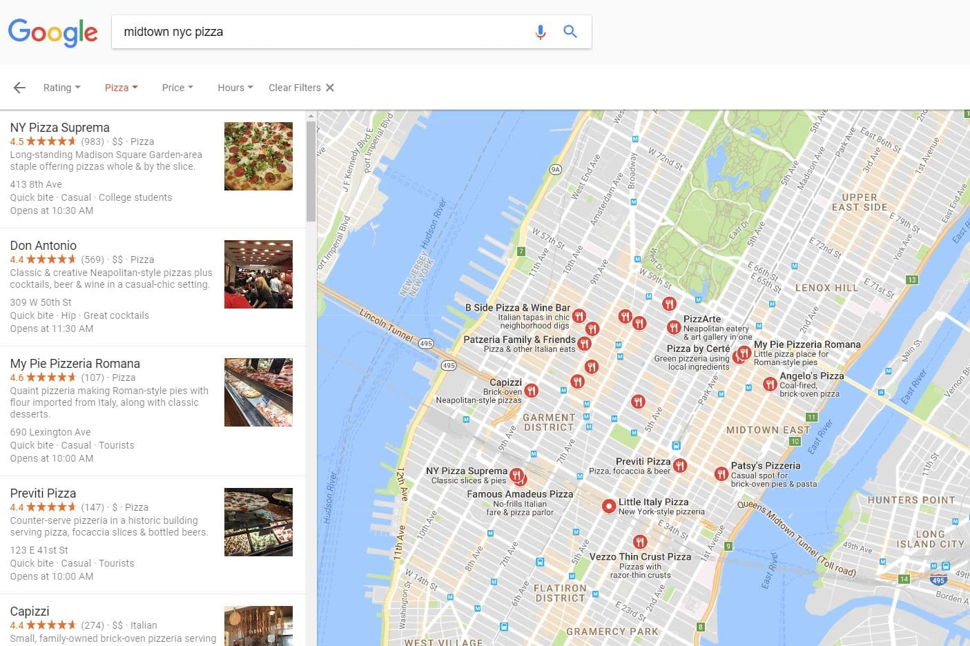 Google Local Search results break out to offer the most relevant business information in your area