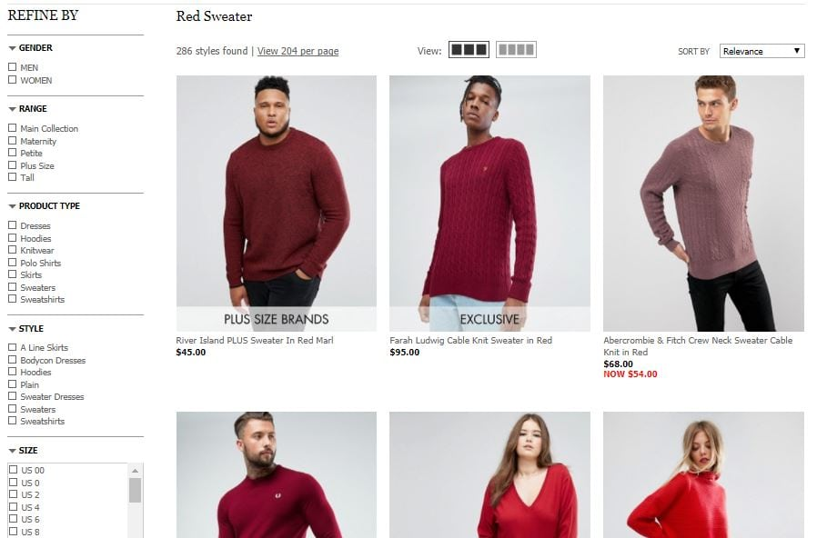 red sweater faceted navigation example