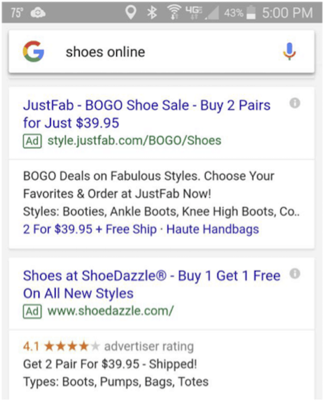 Shoes online Google mobile search