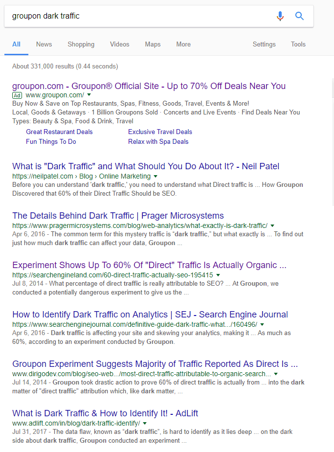 Google search Groupon dark traffic