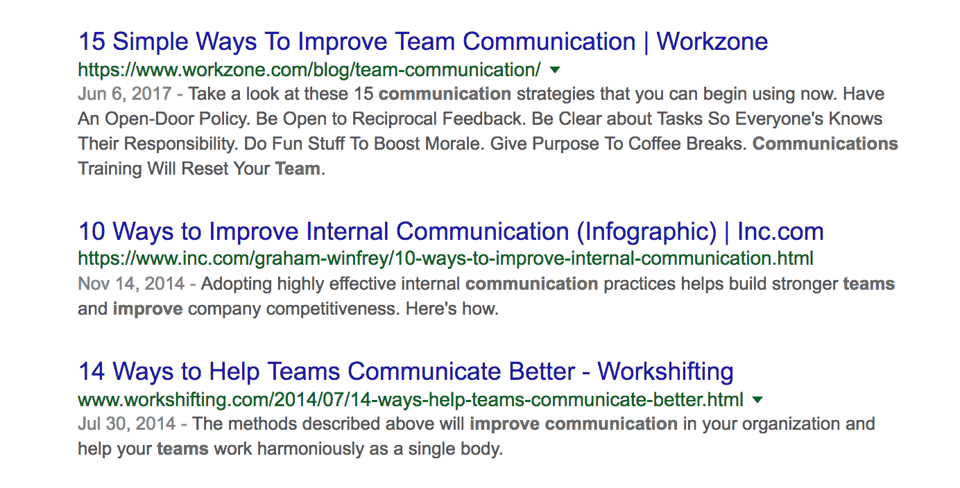 Google top results for team communication