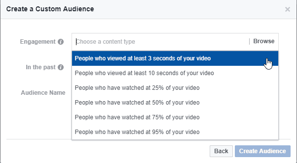 Facebook - custom audience - engagement