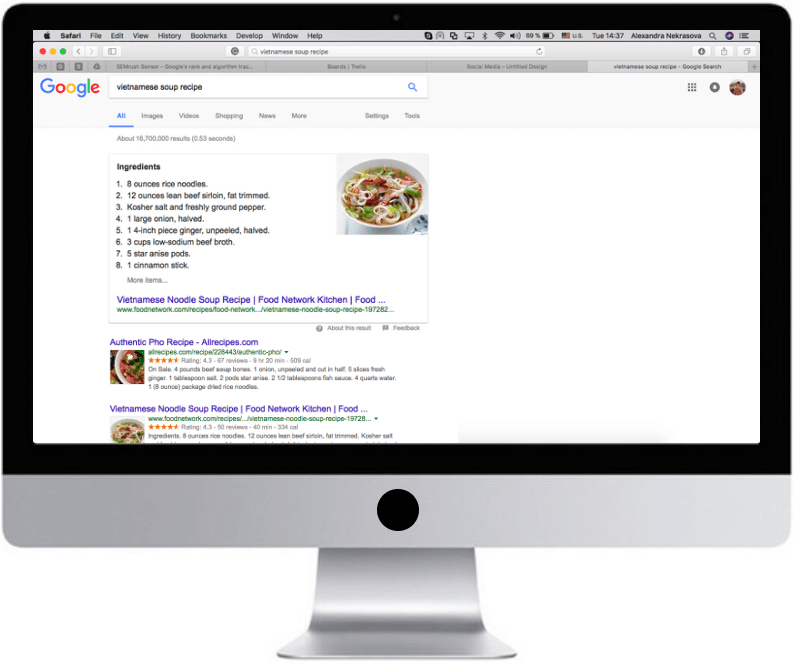 Desktop SERP with a featured snippet