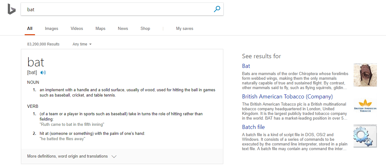 bing search results for bat