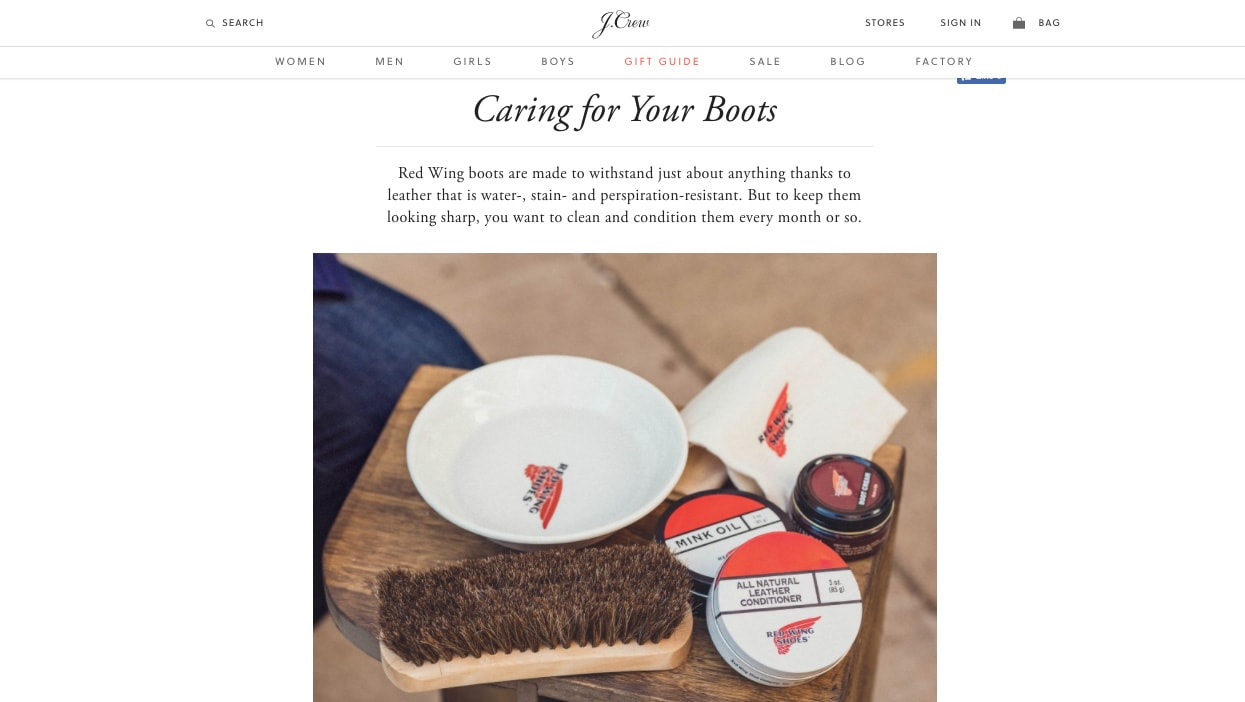 JCrew Caring For Your Boots