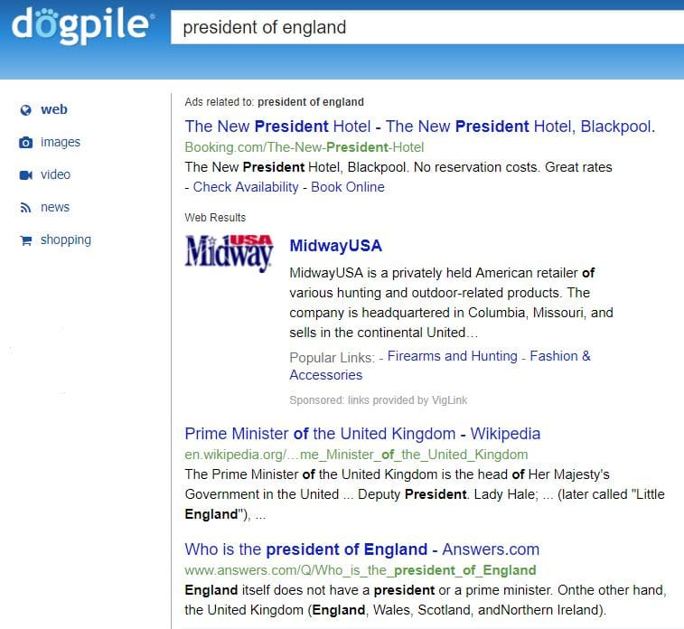 Dogpile search engine results