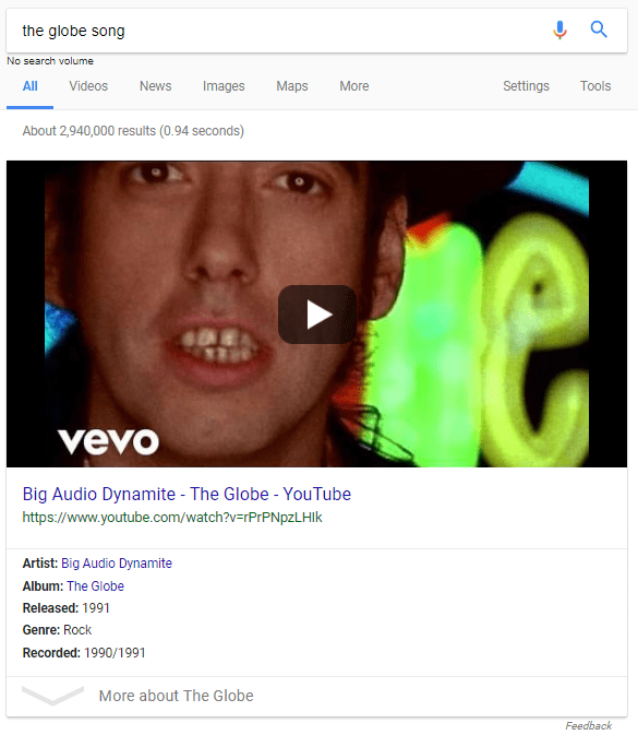 Google SERP result for The Globe, song by Big Audio Dynamite II