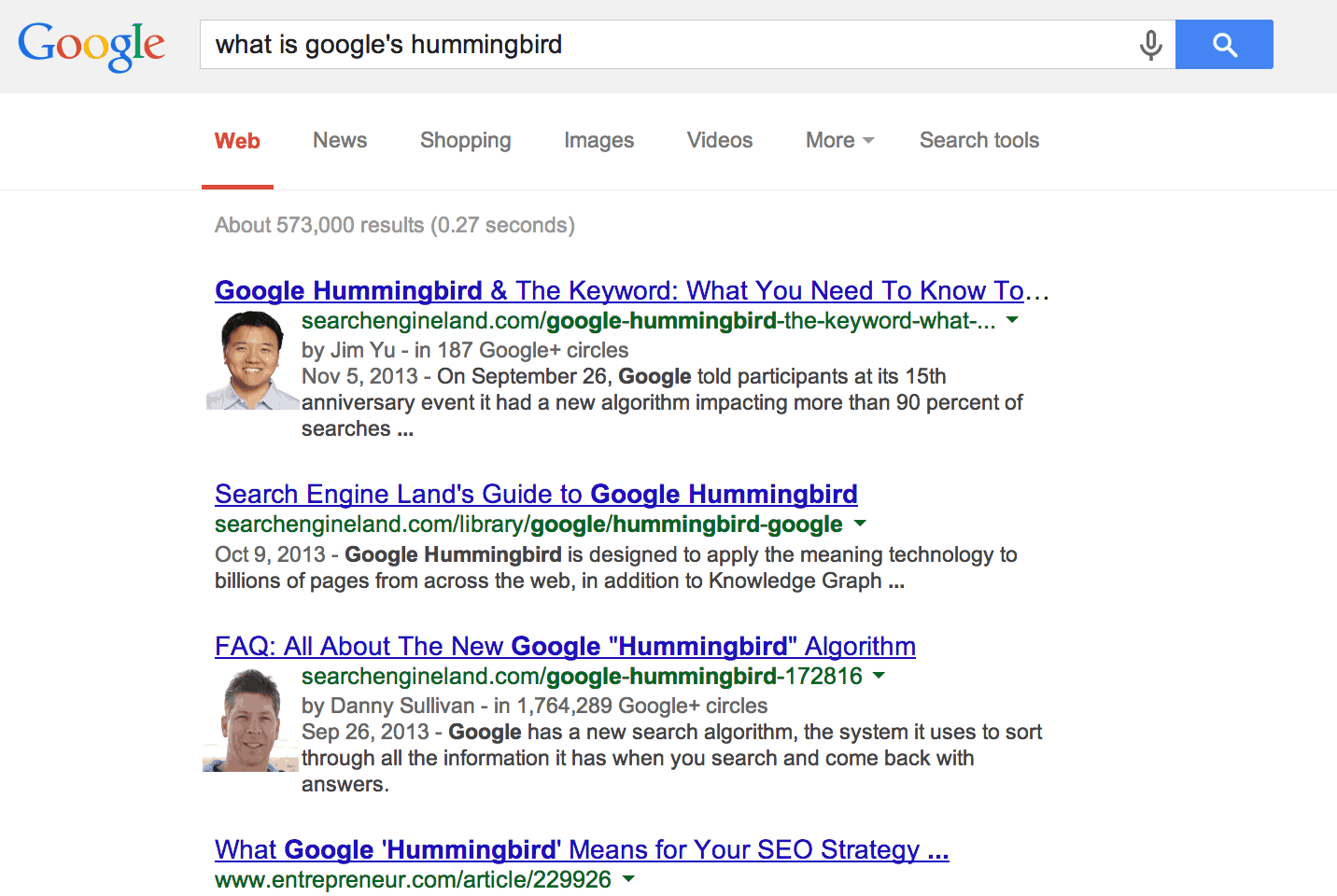 Search results for Google Hummingbird, 2013