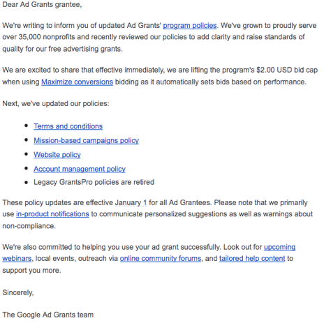 Google Grant Email