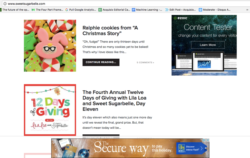 AdSense ads displaying on cookie blogger site