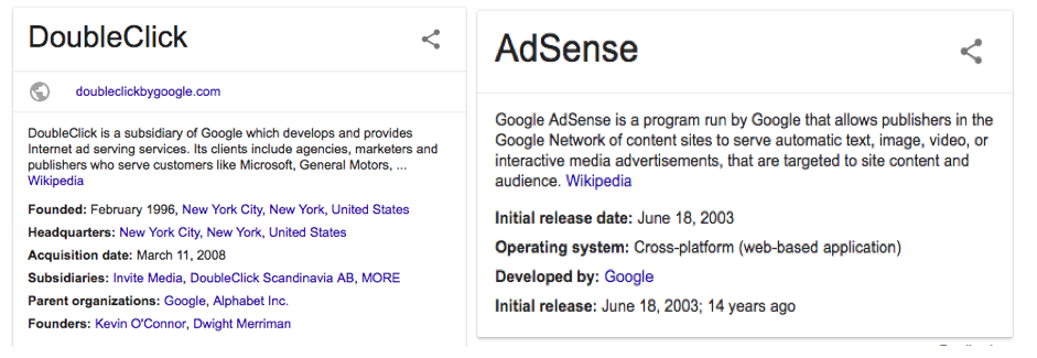Google's DoubleClick and AdSense descriptions