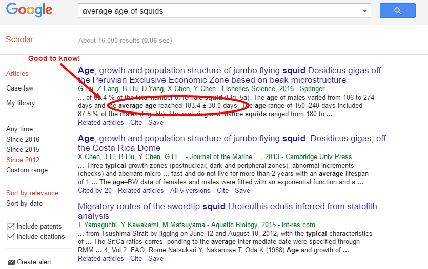 Screenshot of a Google Scholar search