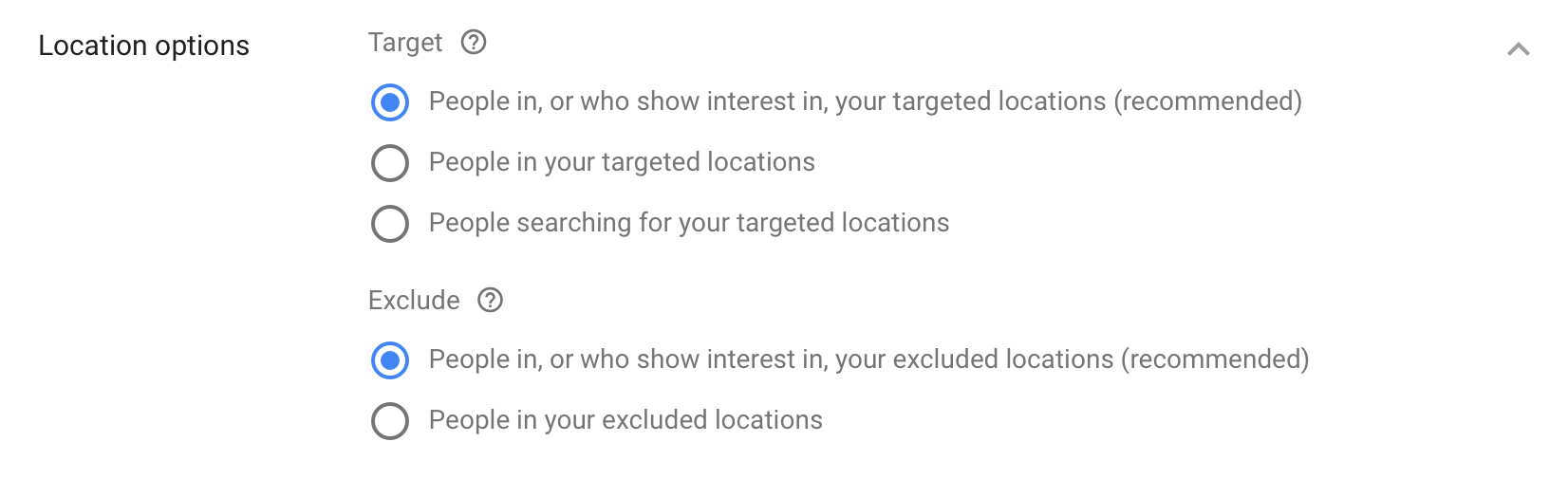Location Targeting Options