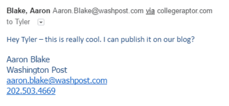 Screenshot of email received from The Washington Post
