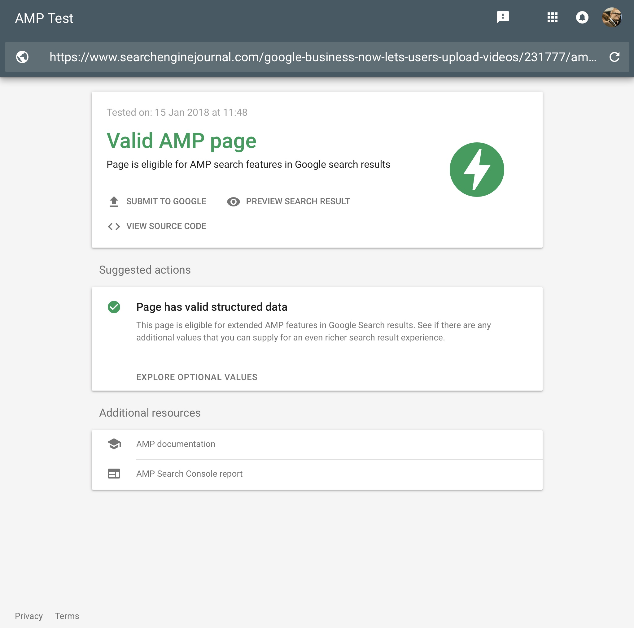 Google Adds AMP Testing Tool to Search Results