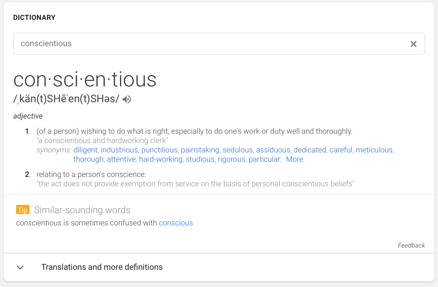 Google Adds 'Similar Sounding Words' to Dictionary Search Cards