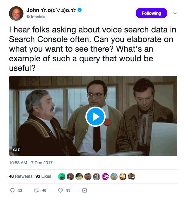 Voice search data in search console